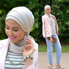 pink blazer outfit, Winter hijab street styles by leena Asaad http://www.justtrendygirls.com/winter-hijab-street-styles-by-leena-asaad/