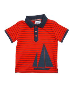 Look at this Red Stripe Sailboat Polo - Toddler