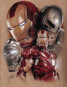 I had to draw another Iron Man pic after seeing the movie the other day Pure awesomeness Acrylic, marker, coloured pencils Brown paper x More I. Iron Man - Bring it on Marvel Comics, Marvel Heroes, Marvel Characters, Marvel Avengers, Iron Man Wallpaper, Marvel Wallpaper, Super Anime, Iron Man Art, Man Illustration