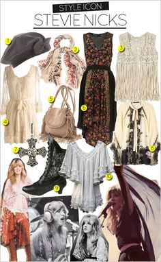 I adore the Stevie Nicks gypsy style wardrobe. All these kind of things are dear to my little boho heart! Hippie Style, Style Boho, My Style, Trendy Style, Hair Style, Gypsy Style Outfits, 70s Fashion, Trendy Fashion, Fashion Outfits
