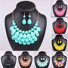 Women Bubble Bib Statement Drop Fashion Chain Necklace & Earrings