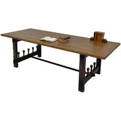 Rustic Beams Dining Table - iron details