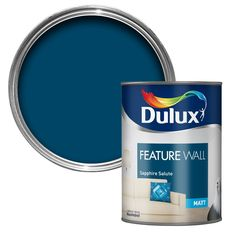 Dulux Feature wall Sapphire salute Matt Emulsion paint L - B&Q for all your home and garden supplies and advice on all the latest DIY trends Dark Blue Feature Wall, Blue Feature Wall Living Room, Dulux Feature Wall, Painted Feature Wall, Kitchen Feature Wall, Feature Wall Design, Living Room Paint, Bedroom Feature Walls, Room Colors