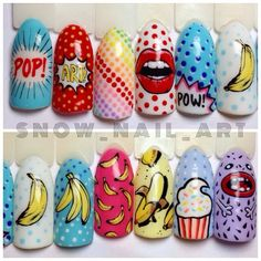 Nails Art Designs Crazy 44 Ideas For 2019 Funky Nail Art, Crazy Nail Art, Funky Nails, Cute Nails, Pretty Nails, Pop Art Nails, Nail Pops, May Nails, Disney Nails