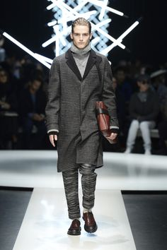 Wool check coat with contrasting details, cashmere turtleneck, wool pants, textured calfskin document holder #CanaliFW15 #FW15 #mfw #moda #menswear #coat