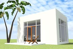 Modern Style House Plan - 1 Beds 1 Baths 405 Sq/Ft Plan #64-242 Exterior - Front Elevation - Houseplans.com