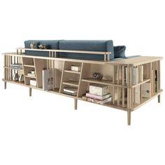 Blue Sofa And Bookshelf Room Divider