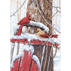 "Cardinals On Sled Counted Cross Stitch Kit-10""""X14"""" 14 Count"