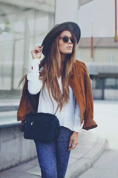 A winter wardrobe outfit must!  Pair a flat brim hat, crisp white blouse with dark denim and camel Moto Jacket and you have the perfect Street Style Outfit