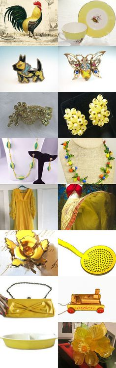 Sunny Yellow at Vintage Vogue C Team Treasury by Tina Weldin on Etsy--Pinned with TreasuryPin.com