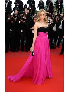 """""""Apparel & Accessories > Clothing >Dresses > Formal Dresses""""    Diane Kruger wore a strapless floor-sweeping bright pink and black on the red carpet,she can work this Barbie pink colour and the beaded black bodice is divine with lace overlay. Such a cute dress which I am sure most people will hate.The gown's bodice, constructed from black Chantilly lace shipped from France, was carefully dotted with hundreds of tiny jet-black bugle beads.    How to Dress Like… $160.00"""