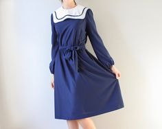 vintage nautical navy blue dress on Etsy, $44.00