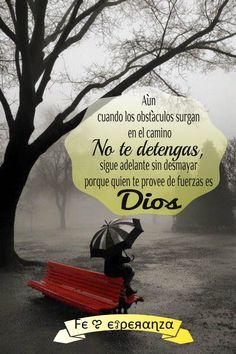 Aún cuando los obstáculos surgan en el camino no te detengas, sigue adelante sin desmayar porque quien te provee de fuerzas es Dios.