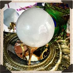 SELENITE SPHERE Large Crystal. For Full Moon Magick, Goddess & Cleansing…