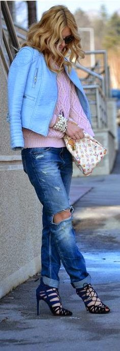 Boyfriend Ripped Jeans , Pale Blue Jacket and Pink Sweater