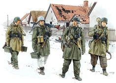 """Pinturas-segunda-guerra-mundial: """"1945 01 Hungría División SS Wiking - Ron Volstad"""""""