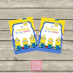 ON SALE Instant download Minion Valentines by PartyPoshPrintables