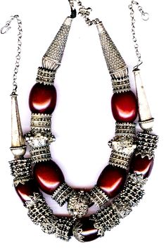 Granulated necklaces  with  cherry amber Jewish silver work Saana Yemen (archives sold Singkiang)