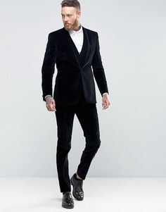Image 3 ofHart Hollywood by Nick Hart Slim Suit Jacket in Velvet With Shawl