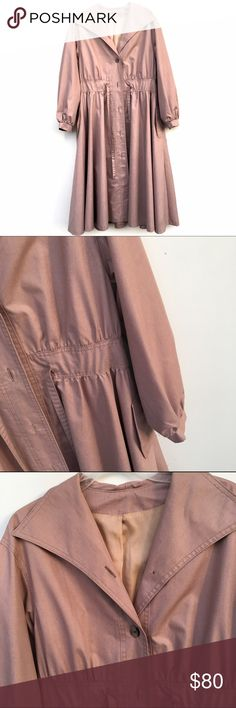 Floor Length Dusty Pink Duster Unworn dusty rose duster, with puff sleeves and a collar. Belted, buttons all the way up. No size tag, could fit a medium-large. Bonders Jackets & Coats Trench Coats