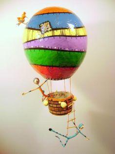 globo aerostático cartapesta - artesania en papel papel,alambre cartapesta