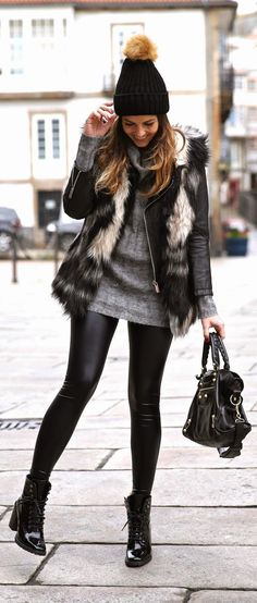 winter fashion faux fur vest oversized knit