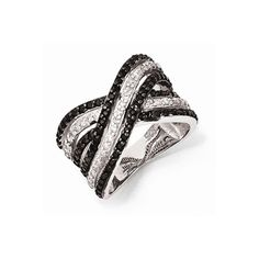 Sterling Silver CZ White and Black Ring