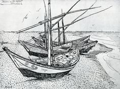 """Vincent van Gogh, """"Fishing Boats on the beach at Saintes- Maries."""" (1888) - Ink on paper"""