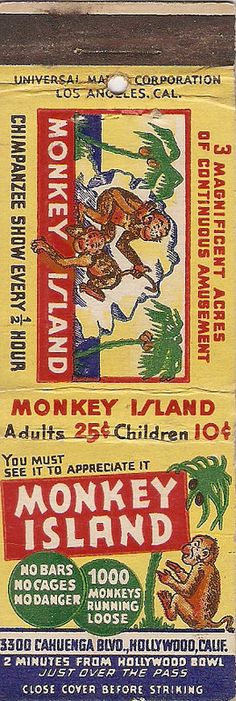 Monkey Island | by StrikerChick #matchbook To design& order your businesss' own ad matches GoTo GetMatches.com