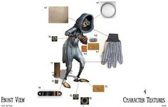 Description 9 is the most physically refined of all the stitchpunks, being simple in design. A zipper closes his front, and his body is made of burlap. 9 has seven red stitches on his left arm, rec...