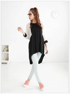 Sassy Chiffon Splicing Hi Lo Cropped Dolman Sleeve Lady T-shirt Black on BuyTrends.com, only price $8.75