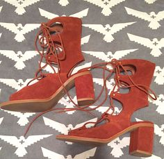 f39cd77935c Jeffrey Campbell Gladiator Lola Lace Up Heel Rust Colored Suede Sandal   JeffreyCampbell  LaceUps Lace