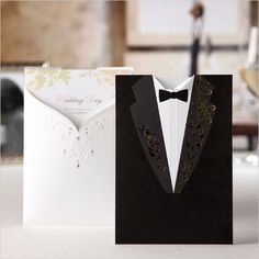 94.35$  Watch now - http://aipyy.worlditems.win/all/product.php?id=32432243366 - 100pcs Printable Creative Laser Cut Groom and Bride Black&White Engagement Wedding Invitation Card
