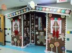 Collaborative display - gingerbread house - create and contribute paper-crafted candy or gingerbread people to decorate house