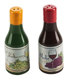 This Wine Bottle Salt & Pepper Shakers is perfect! #zulilyfinds
