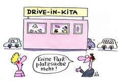 Kindergarten_KiGaPortal_Cartoon_Renate Alf_Drive-In-Kita