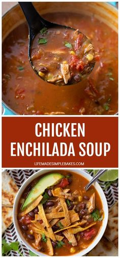 This chicken enchilada soup is a saucier, spicier version of tortilla soup and it's super yummy! Perfect of any time of year! #chickenenchiladasoup #enchiladasoup #chickensoup #mexicansoup #chickenenchiladas Chicken Enchilada Soup, Tortilla Soup, Chicken Enchiladas, Bbq Pitmasters, Mexican Food Recipes, Soup Recipes, Cooking Recipes, Mexican Dishes, Chicken Recipes