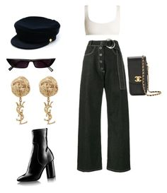 """""""..."""" by raxellarana ❤ liked on Polyvore featuring Solid & Striped, Kendall + Kylie, Rejina Pyo, Chanel, Manokhi and Yves Saint Laurent"""