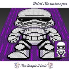 Mini Stormtrooper crochet blanket pattern; c2c, knitting, cross stitch graph; pdf download; no written counts or row-by-row instructions by TwoMagicPixels, $3.79 USD