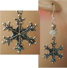 Silver Snowflake Charm Drop/Dangle Earrings Handmade Jewelry Hook Alloy Metal