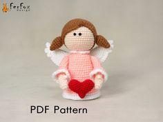 Angel pattern angel with heart crochet doll by FerFoxDesign