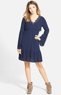 Socialite Lace Trim Babydoll Dress available at #Nordstrom