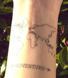 "World map ""Adventure"" tattoo 