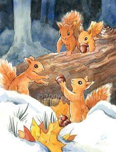 Winter Stash by KelliRoos on DeviantArt Squirrel Art, Secret Squirrel, Flying Squirrel, Cute Squirrel, Squirrel Feeder, Squirrels, Squirrel Illustration, Autumn Illustration, Book Illustration