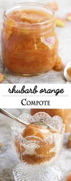 Rhubarb Orange Compote - Don't know what to do with rhubarb? Try this quick and easy rhubarb compote recipe. Spoon it over ice cream and cake and it's awesome on pancakes! | justalittlebitofbacon.com