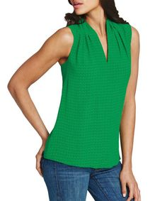My color!  Another great find on #zulily! Green Business Silk-Blend Top #zulilyfinds