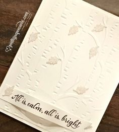 Stampin' Up! ... handmade Christmas card ... white on white ... Woodlands embossing folder texture with small leaves die cut from white glimmer paper ... luv it!