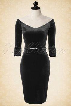 Vintage Chic - 50s Lena Velvet Pencil Dress in Black