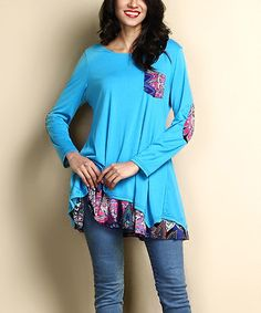 Another great find on #zulily! Blue & Purple Floral Elbow Patch Sidetail Layered Tunic #zulilyfinds