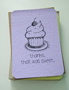 Plantable Seed Paper CupcakeThank You Cards Purple by jojobeandesigns    Plant cards and grow a pot of wildflowers!